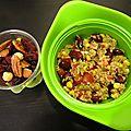 Taboulé recyclé, yaourt et fruits secs