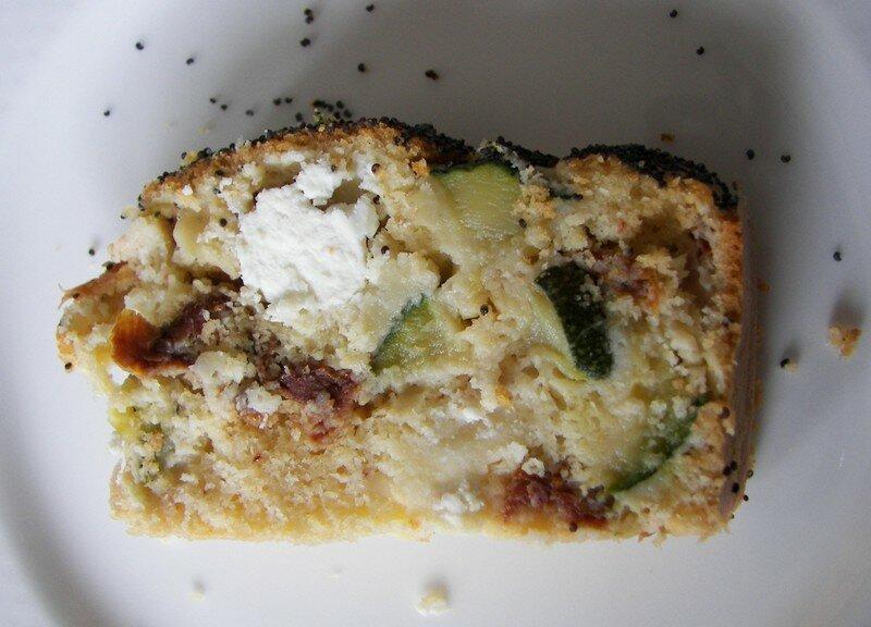 Cake feta/courgette/tomates séchées/dès de dinde