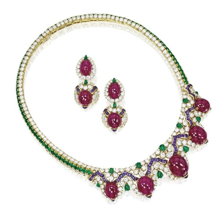 Ruby, Coloured Stone and Diamond Necklace; and Pair of Matching Ear Clips, Mauboussin