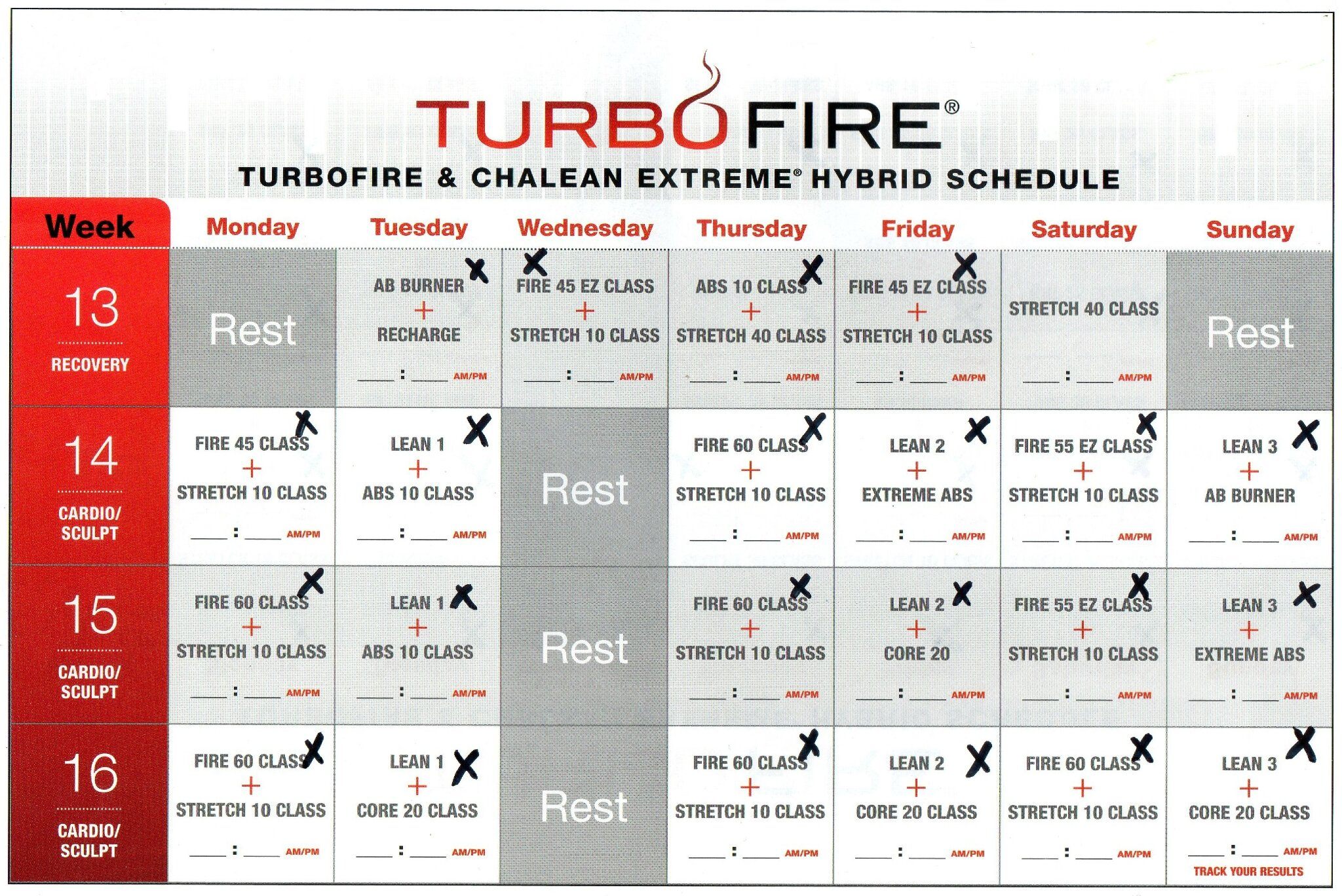 Turbo Fire Schedule Week 9 | Calendar Template 2016