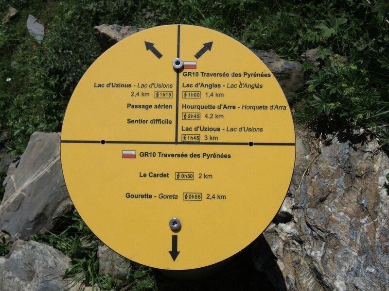 Gourette, G les Trois lacs, Plaa de Batch, cabane de Coste de Goua, bifurcation, borne