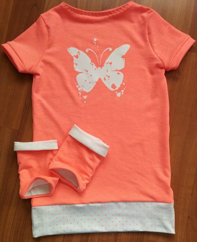tenue corail fluo papillon destroyed Mimie- copie