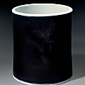 A mirror-black-glazed brush pot, china, qing dynasty, kangxi period (1662-1722)