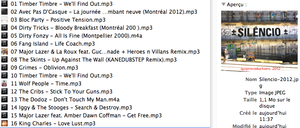 Tracklisting Silencio 2012