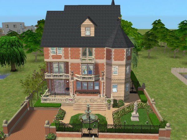 Simple facade with modele maison sims 3 for Modele maison sims