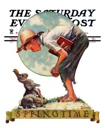 norman-rockwell-springtime-1935-boy-with-bunny-saturday-evening-post-cover-april-27-1935