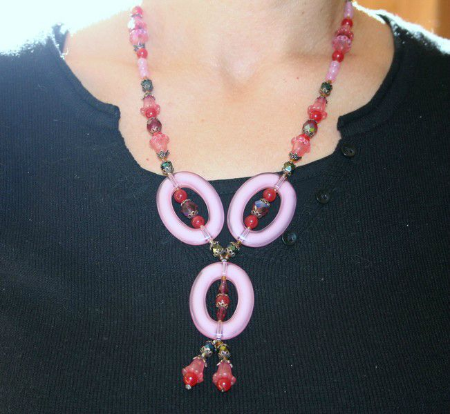 long collier ovales et perles