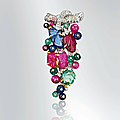 An art deco multi-gem and diamond 'tutti frutti' brooch, by cartier