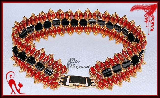bracelet Nelly rouge noir 2