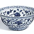 A blue and white 'floral' bowl, ming dynasty, yongle period