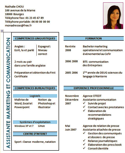 exemple cv job d ete 17 ans