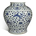 A blue and white 'peony and peacock' jar, ming dynasty, jiajing period (1522-1566)