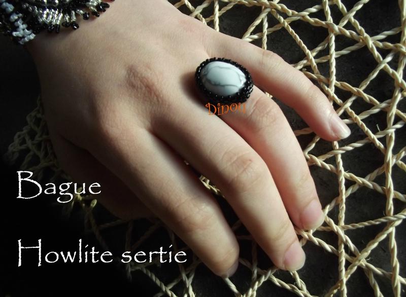 Bague Howlite sertie 2