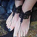 bijoux de pieds en dentelle noire amd a coudre