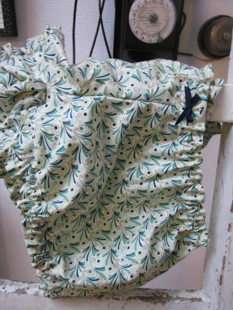 Culotte BIANCA en coton plumettes vert et turquoise - noeud marine (3)