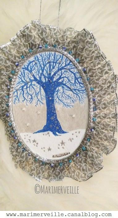 Médaillon arbre magique bleu 2 - conte d'hiver- marimerveille