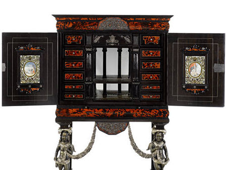 A_Flemish_late_17th_century_pewter_and_ivory_inlaid_and_silvered_mounted_tortoiseshell__ebony_and_rosewood_cabinet_on_stand2