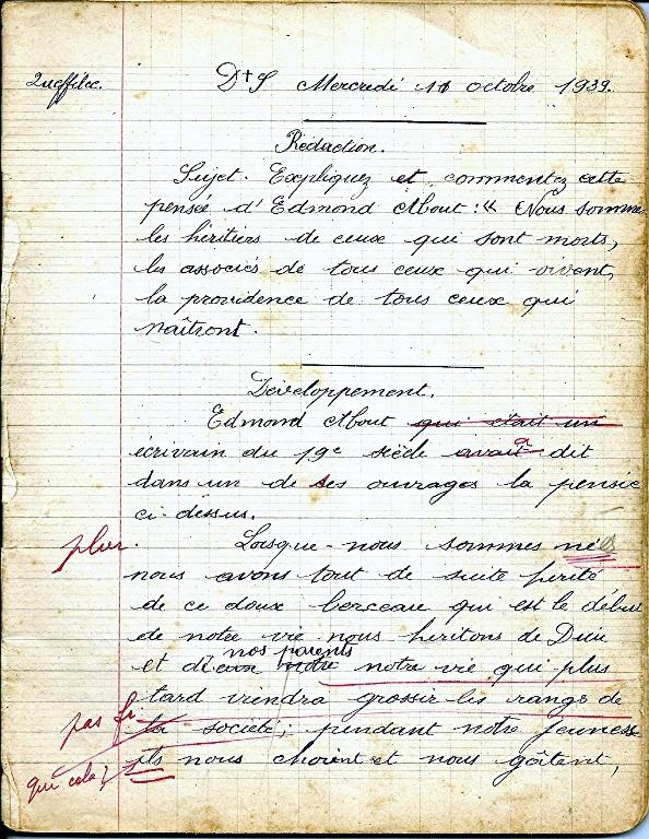 Cahier de composition francaise de Henri Queffelec en 1939