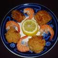 Boulettes et petites crèpes de crevette et jambon