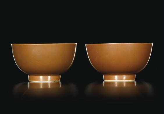 A pair of café-au-lait-glazed bowls, marks and period of Kangxi (1662-1722)