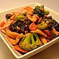 Wok de poulet laqué aux brocolis et champignons noirs