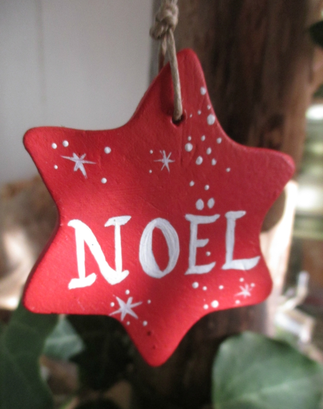 Petite étoile NOEL (argile peinte) - CélinArtisa