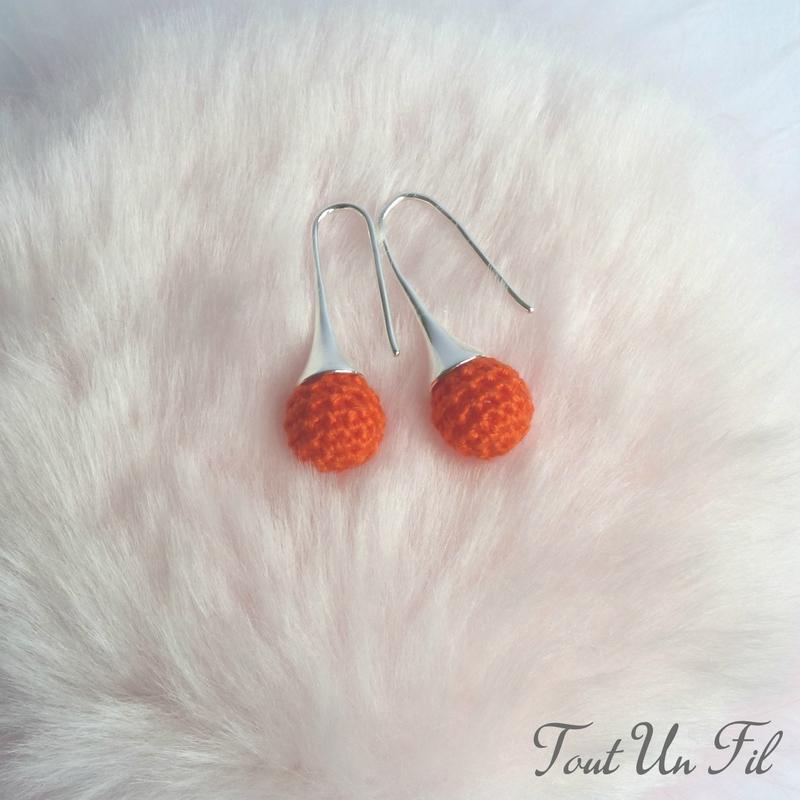 Boucles d'oreilles Orange vif Crochet Tout Un Fil