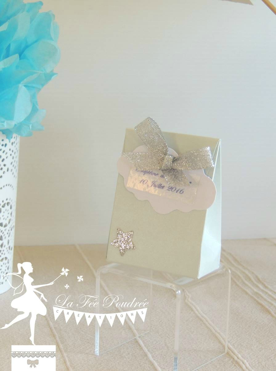 ballotin dragees bapteme baby shower theme etoile nuage bleu pastel nacre argent blanc ruban