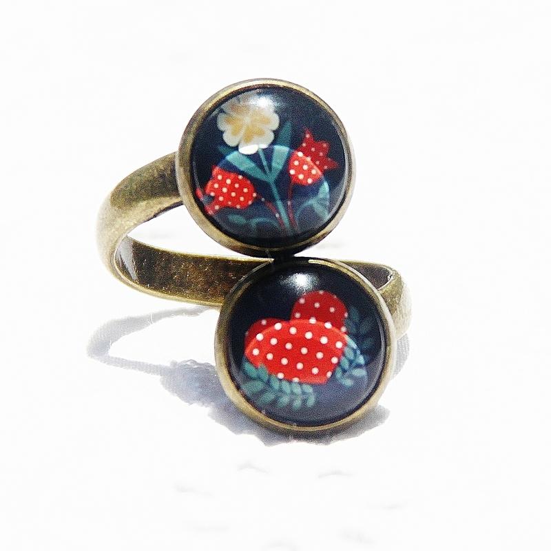 lisa 14 bague double cabochons bronze coeur fleur rouge blanc gris @louiseindigo bijoux colorés (2)