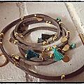 collier bracelet turquoise et or pompon 04