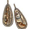 A pair of jasper ear pendants, with pave diamond surround, by hemmerle