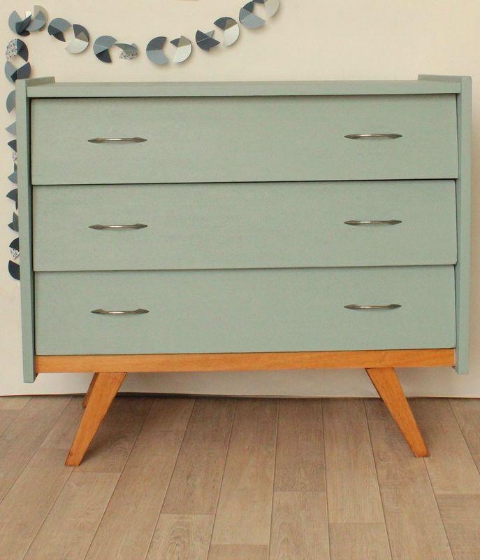commode ann es 50 bleue pieds compas trendy little. Black Bedroom Furniture Sets. Home Design Ideas
