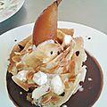 crêpes aux poires caramélisées au four et sa sauce au chocolat (du chef custos)