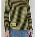 tee shirt rayures vert marron bouton 5