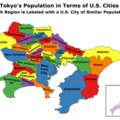 The population of Tokyo, measured in U