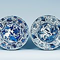 A set of four blue and white dishes, ming dynasty, wanli (1573-1619)