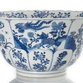 A rare export-style imperial blue and white qilin and phoenix decorated porcelain bowl, china, kangxi six-character mark
