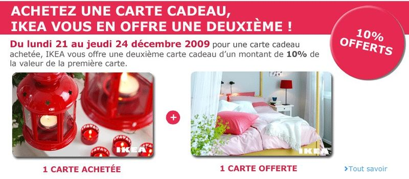 cartes cadeau ikea promotion no l 2009 le blog des cartes cadeaux. Black Bedroom Furniture Sets. Home Design Ideas