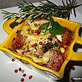 Ramequin d'aubergine chipolatas/merguez avec du maroilles