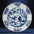A fine and rare Ming blue and white 'mMthical beasts' dish, Wanli six-character mark within double-circles and of the period (1573-1619)