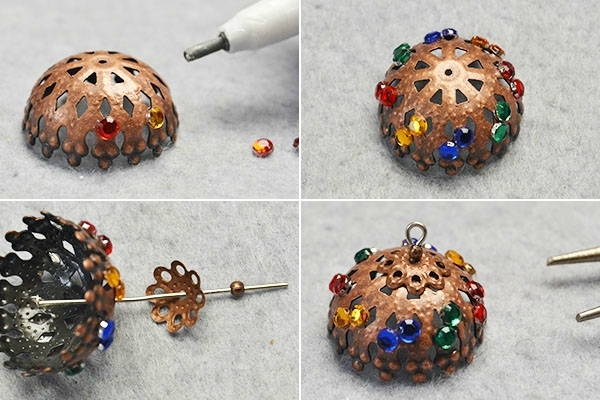 Pandahall Original Project-How to Make Tibetan Pearl and Cabochons Hoop Earrings(5)