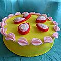 gâteau sorbet citron-fraise