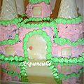 Gâteau château princesse rose détail