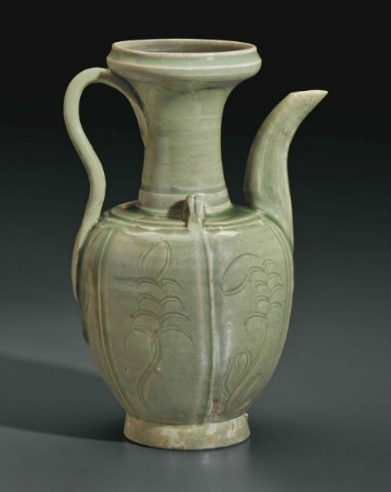 A Yue-type celadon carved ewer, China, Early Northern Song dynasty (AD 960-1127)