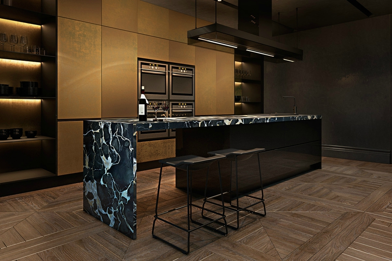 Opulent-kitchen-brass-cabinetry-marbled-long-kitchen-bench
