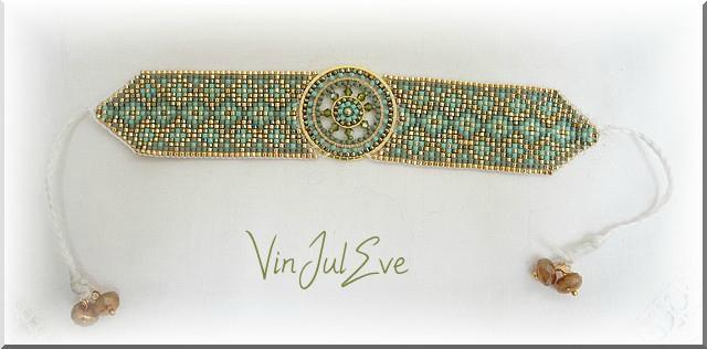 bracelet loom plaque ronde vert or