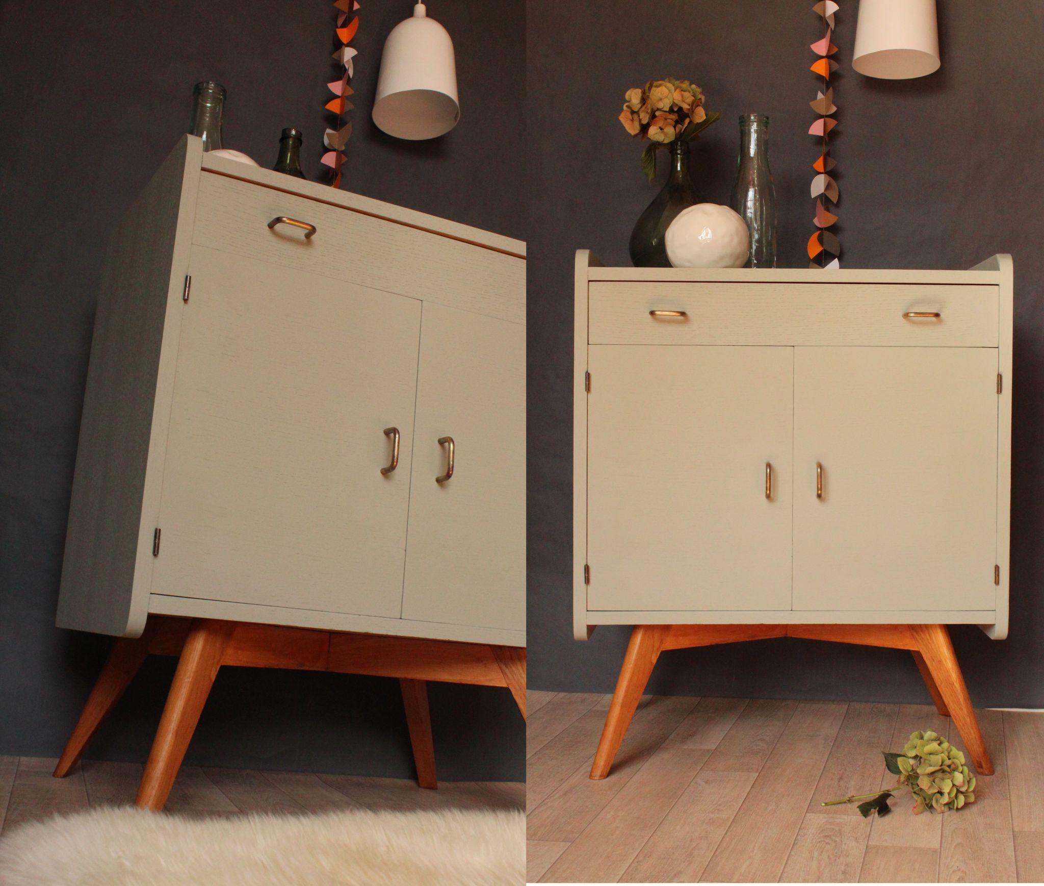commode vintage annees 50 gris pigeon et naturel trendy. Black Bedroom Furniture Sets. Home Design Ideas