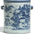 A large chinese export blue and white cylindrical wine cooler, qing dynasty, circa 1800