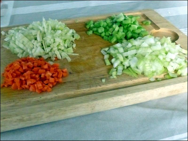 pates aux gambas - legumes coupés