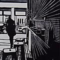 Linogravures : Cafés, bars et femmes au café
